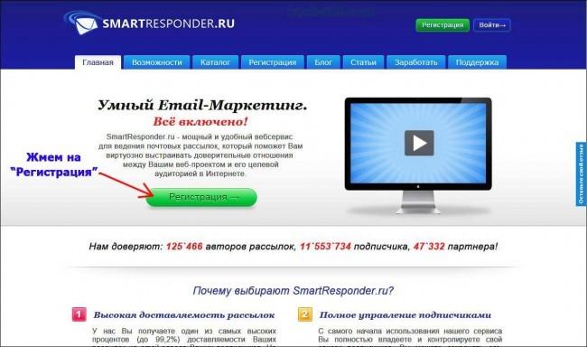 Регистрация в Smartresponder